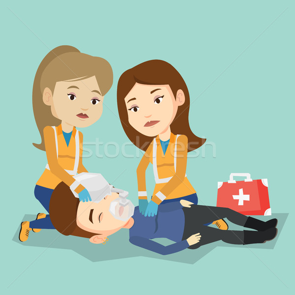 Emergency doctors carrying man on stretcher. Stock photo © RAStudio