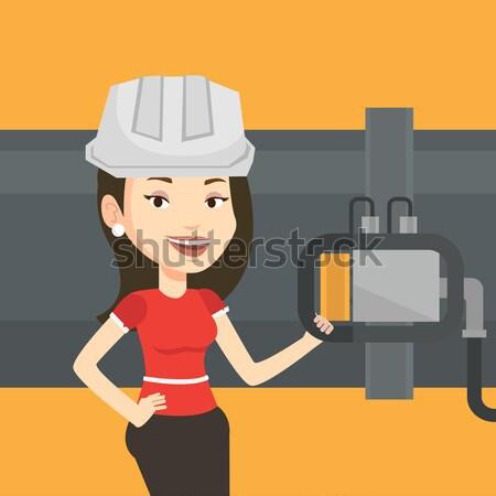 Kezelő detektor benzin csővezeték fiatal kaukázusi Stock fotó © RAStudio
