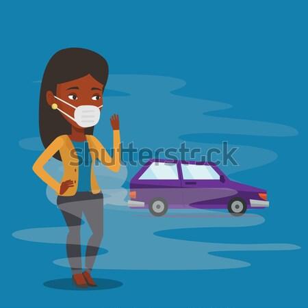 Air pollution véhicule épuiser africaine femme Photo stock © RAStudio