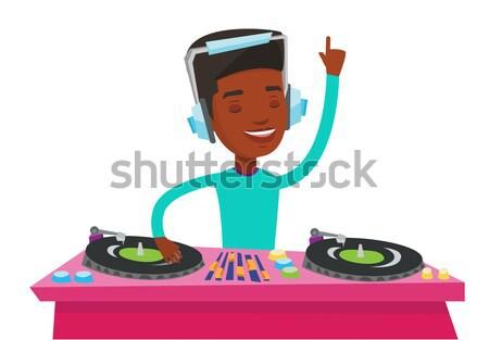 Muziek draaitafels hoofdtelefoon partij nachtclub spelen Stockfoto © RAStudio