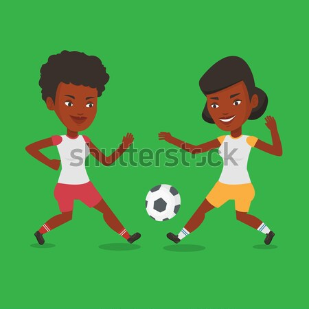 Two female soccer players fighting for ball. Stock photo © RAStudio