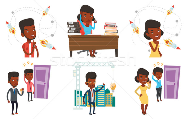 ベクトル セット ビジネス アフリカ 男 ストックフォト © RAStudio
