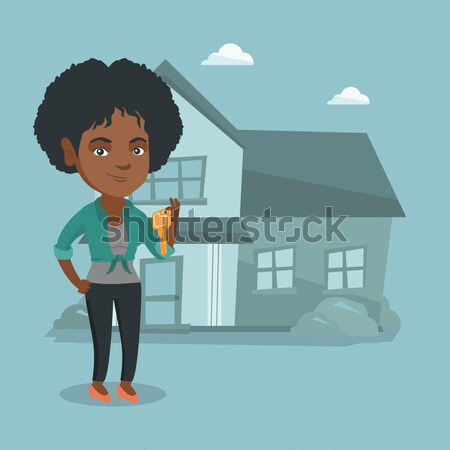 Woman dreaming about buying new house. Stock photo © RAStudio