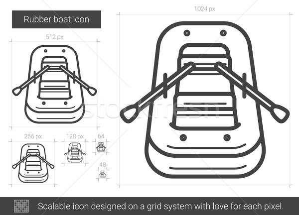 Rubber boat line icon. Stock photo © RAStudio