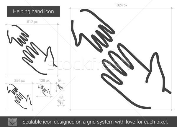 Segítő kéz vonal ikon vektor izolált fehér Stock fotó © RAStudio