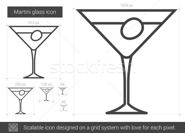 Martini glass linha ícone vetor isolado branco Foto stock © RAStudio