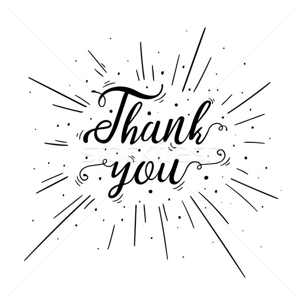 Hand lettered Thank You text with burst. Stock photo © RAStudio