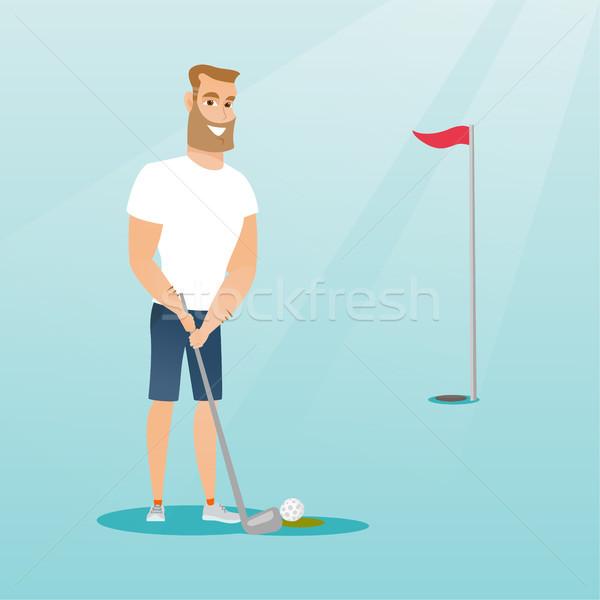 молодые кавказский гольфист мяча борода Сток-фото © RAStudio