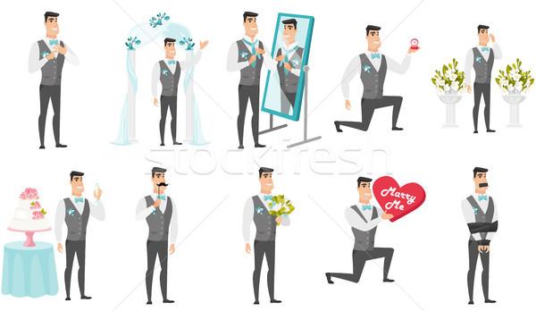 Young caucasian groom vector illustrations set. Stock photo © RAStudio