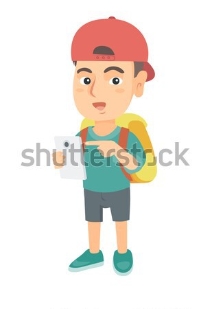 Pupil holding a sheet with the highest mark. Stock photo © RAStudio