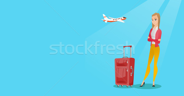 Caucasian woman suffering from fear of flying. Stock photo © RAStudio