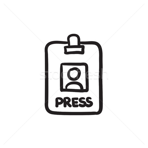 Stock photo: Press pass ID card sketch icon.