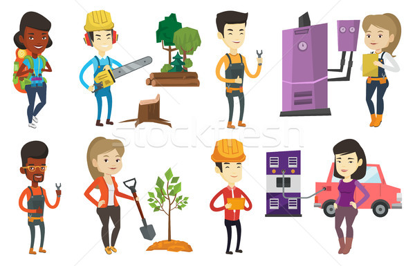 Stock photo: Vector set of characters on ecology issues.
