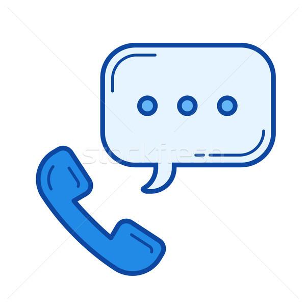 Stock fotó: Telefonkagyló · vonal · ikon · vektor · izolált · fehér