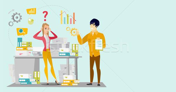 Caucasian business woman overloaded with paperwork Stock photo © RAStudio