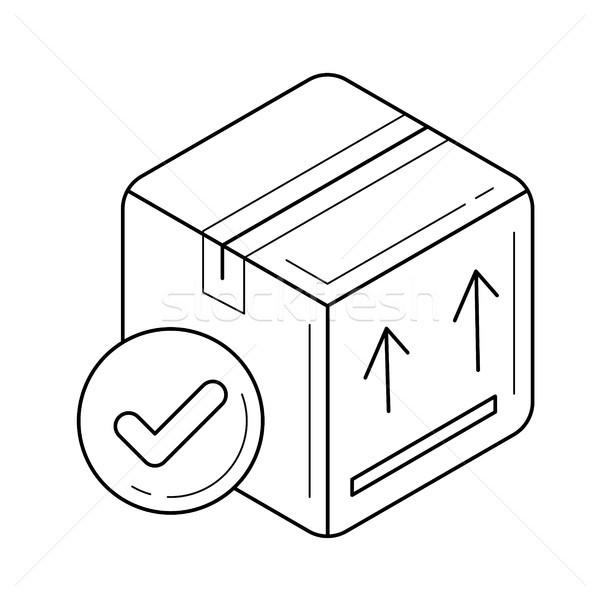 Stockfoto: Karton · pakket · vak · lijn · icon · vector