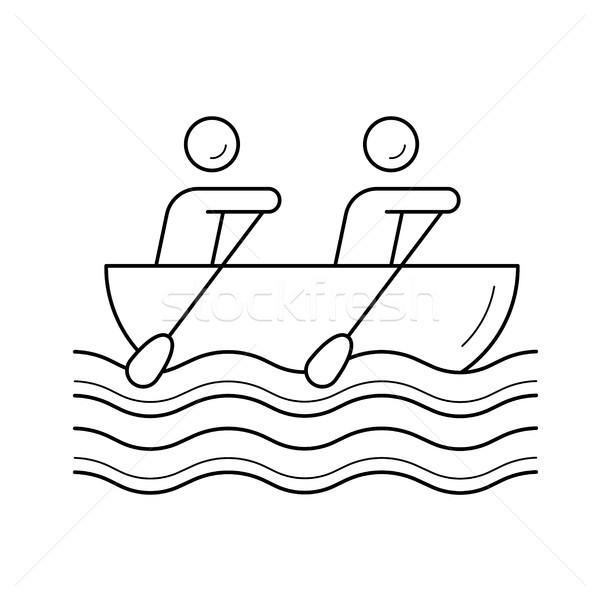 Canoa remo línea icono vector aislado Foto stock © RAStudio