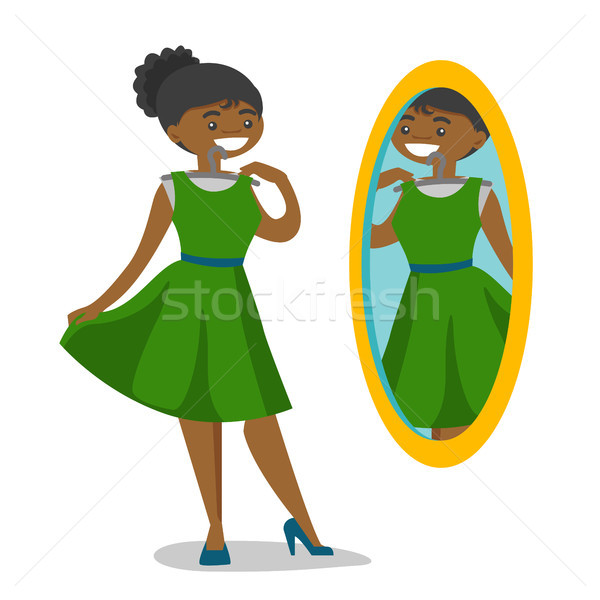 Femme regarder miroir dressing robe Photo stock © RAStudio