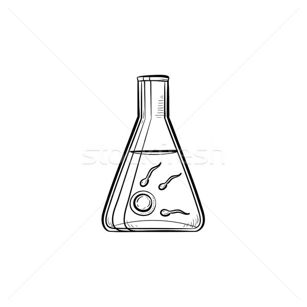 Stock photo: In vitro fertilization hand drawn outline doodle icon.