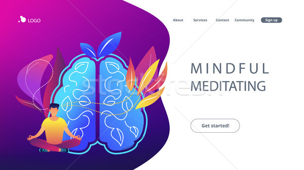Mindful meditating concept landing page. Stock photo © RAStudio