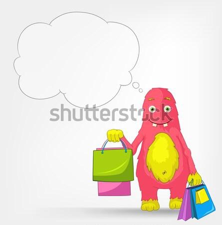 Stock foto: Funny · Monster · Warenkorb · Zeichentrickfigur · isoliert · grau