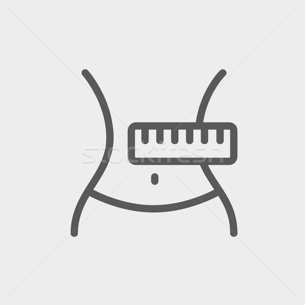 Stock photo: Slimming Belly with Measuring Tape thin line icon