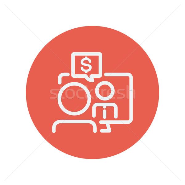 Business discussion thin line icon Stock photo © RAStudio