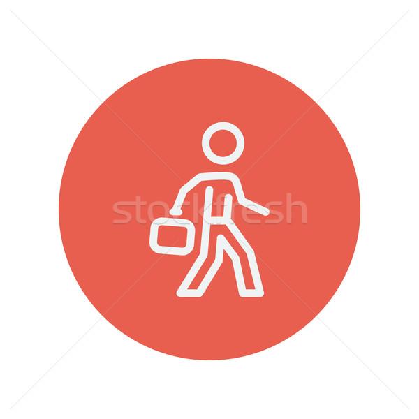 Stok fotoğraf: Adam · yürüyüş · evrak · çantası · ince · hat · ikon
