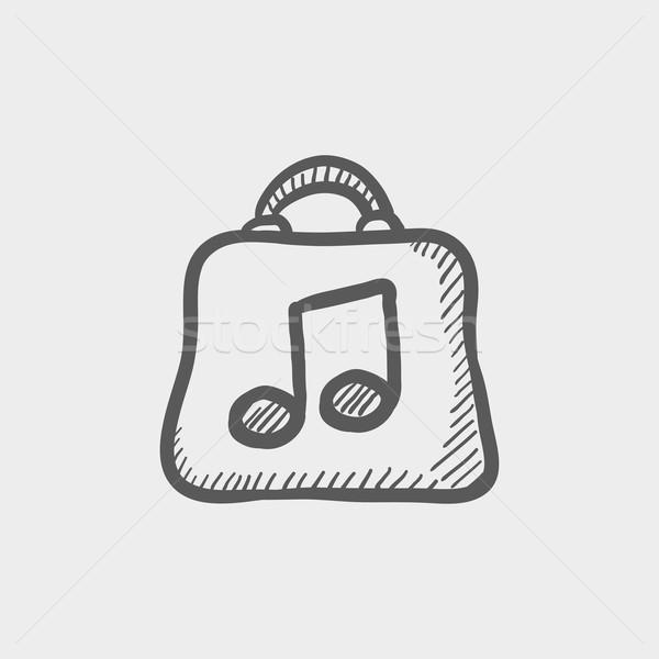 ショッピングバッグ 音楽 注記 スケッチ アイコン ウェブ ストックフォト © RAStudio