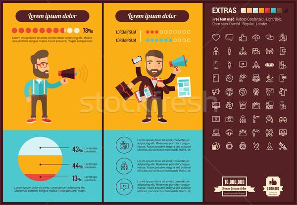 Social media ontwerp sjabloon communie illustraties Stockfoto © RAStudio