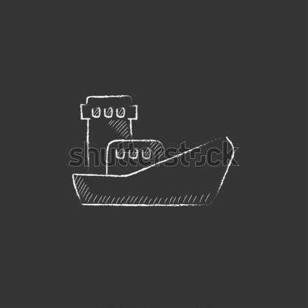 Stockfoto: Vracht · containerschip · icon · krijt