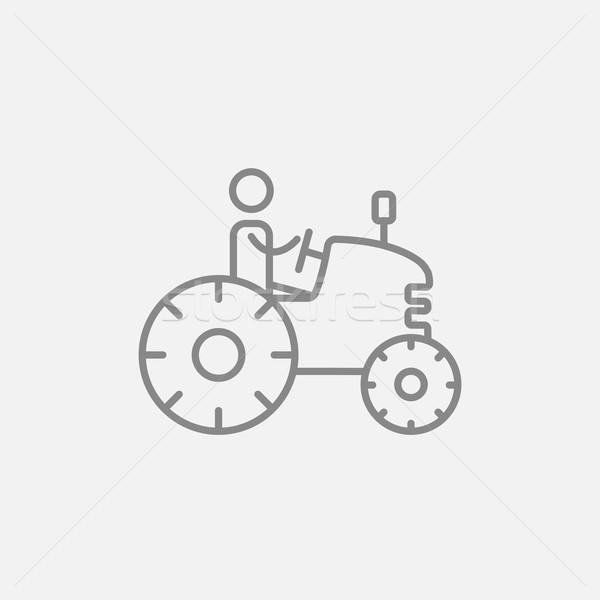 Man rijden trekker lijn icon web Stockfoto © RAStudio
