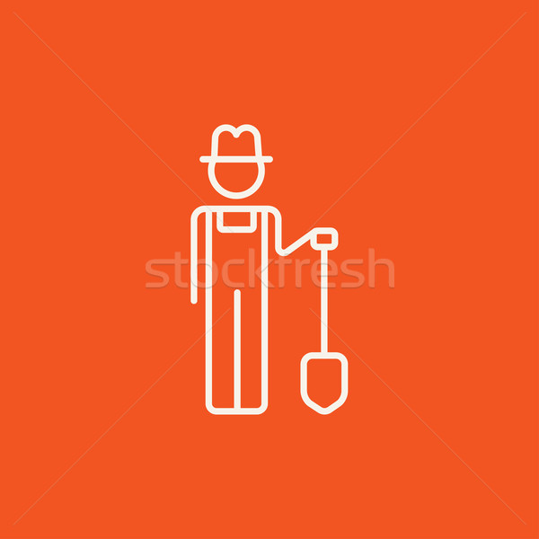 Farmer with shovel line icon. Stock photo © RAStudio