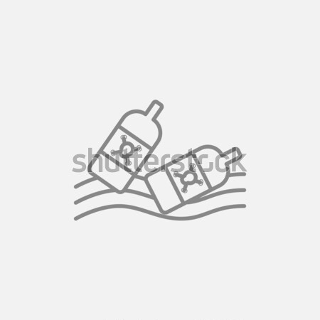 Bottles floating in water line icon. Stock photo © RAStudio