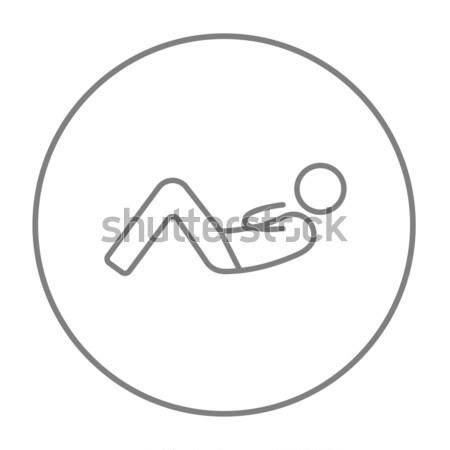 человека брюшной линия икона веб мобильных Сток-фото © RAStudio