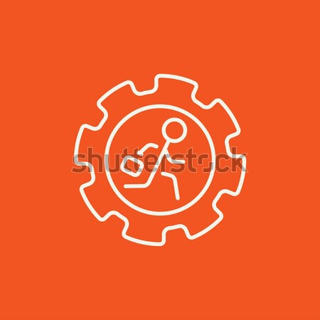 Stock photo: Man running inside the gear line icon.