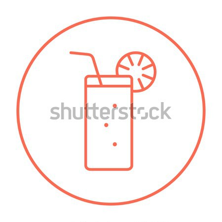 Glass with drinking straw line icon. Stock photo © RAStudio
