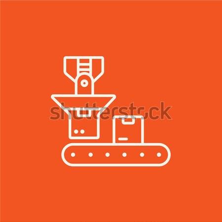 Robotikus csomagolás vonal ikon kartondoboz öv Stock fotó © RAStudio