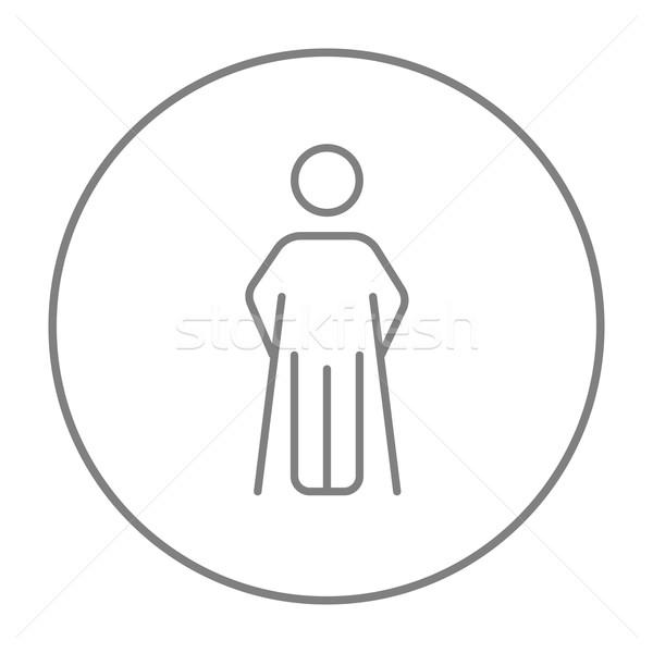 男 松葉杖 行 アイコン ウェブ 携帯 ストックフォト © RAStudio