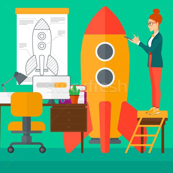 Stockfoto: Business · start · omhoog · vrouw · permanente · ladder