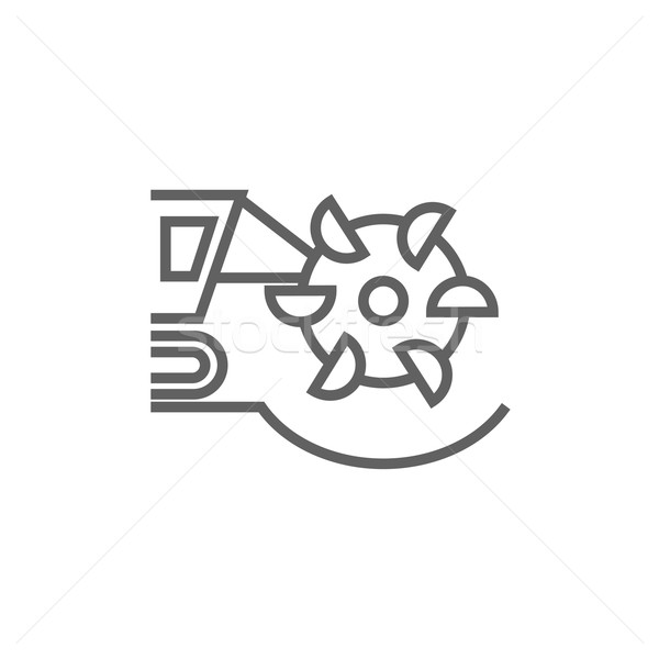 Stock photo: Coal machine with rotating cutting drum line icon.