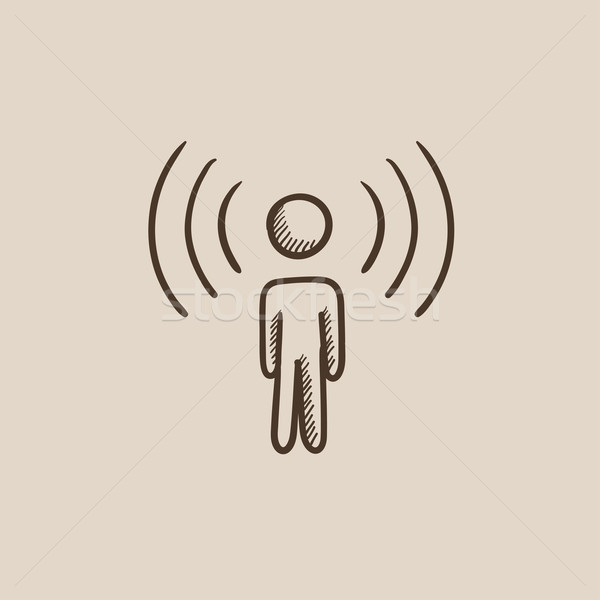 Stock photo: Man with soundwaves sketch icon.