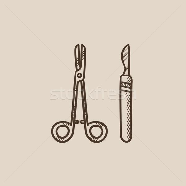 Surgical instruments sketch icon. Stock photo © RAStudio