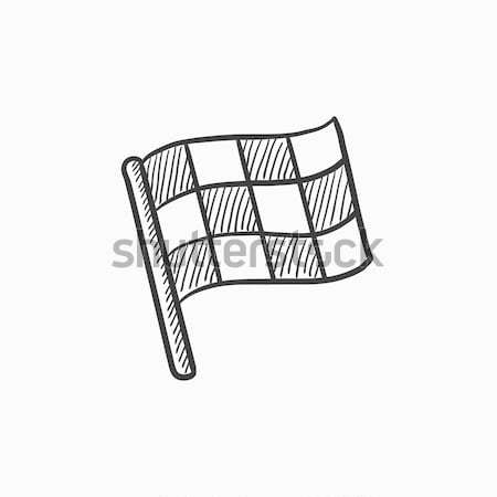 Checkered flag sketch icon. Stock photo © RAStudio