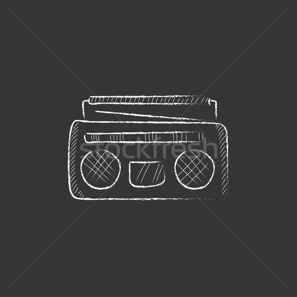 Radio cassette player. Drawn in chalk icon. Stock photo © RAStudio