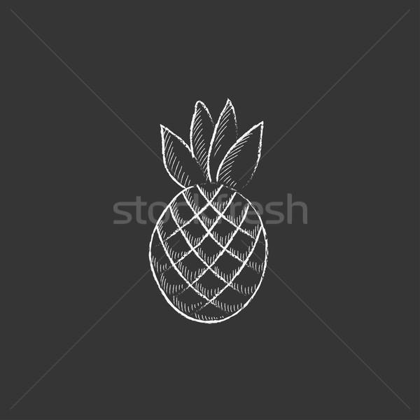 ананаса мелом икона рисованной вектора Сток-фото © RAStudio