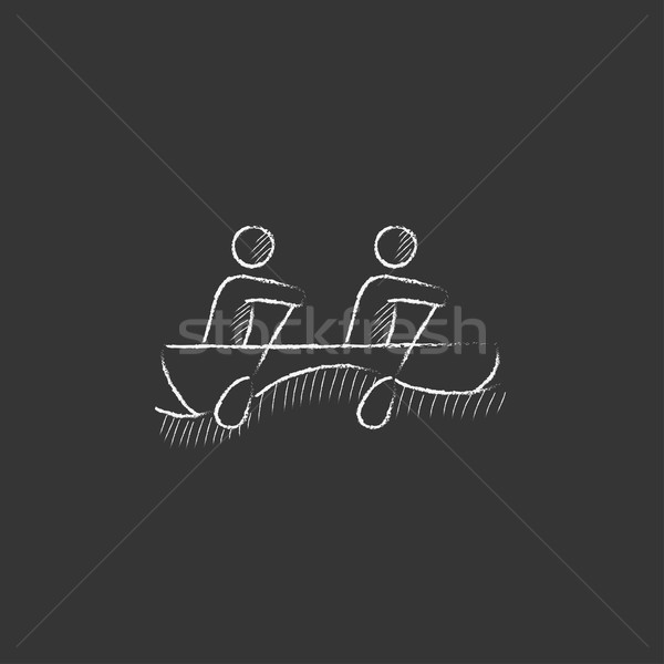 Stockfoto: Toeristen · vergadering · boot · krijt · icon