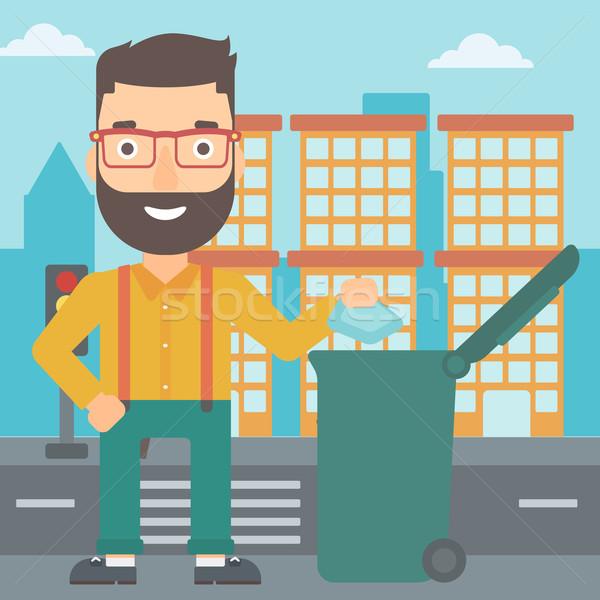 человека мусор борода зеленый Сток-фото © RAStudio