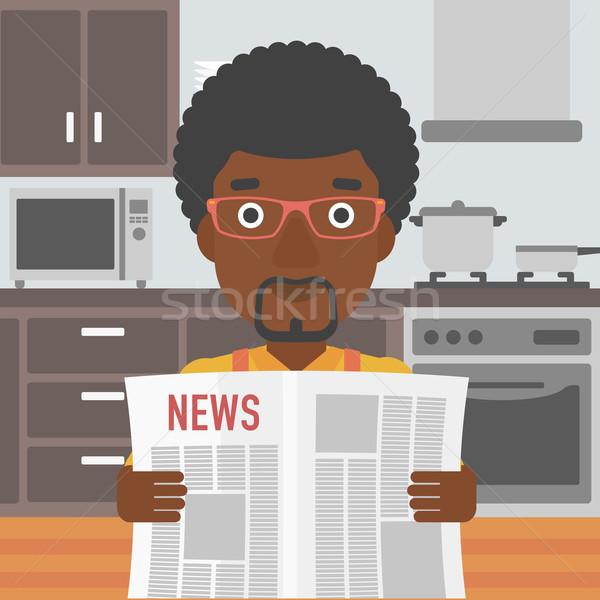 Hombre lectura periódico cocina vector diseno Foto stock © RAStudio