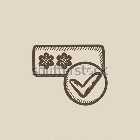Password with check mark sketch icon. Stock photo © RAStudio